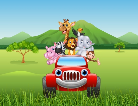 Vector illustration of Cartoon animals africa in the red car Фото со стока - 56170876