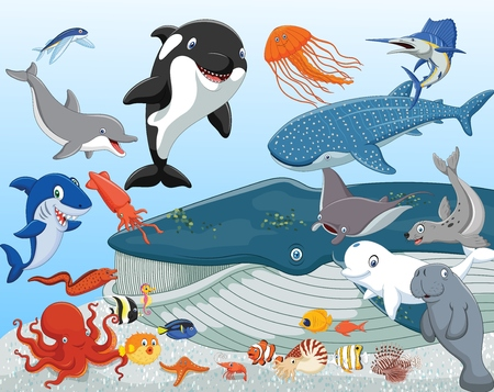 Vector illustration of Cartoon sea animals