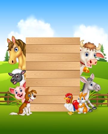 Vector illustration of Cartoon farm animals holding wooden sign 向量圖像
