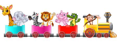 Vector illustration of Cute africa animal on train