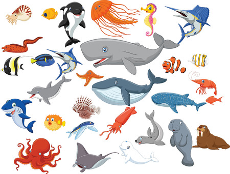 Vector illustration of Cartoon sea animals isolated on white background Çizim