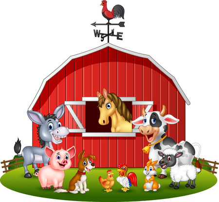 bales: Vector Illustration Farm background with animals