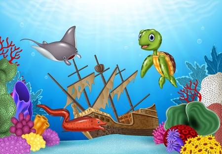 Ilustración vectorial de los animales de mar con el naufragio en el océano Foto de archivo - 56170922
