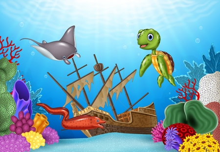 shipwreck: Vector illustration of Sea animals with Shipwreck on the ocean