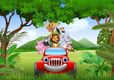 Vector illustration of Cartoon animals africa in the red car