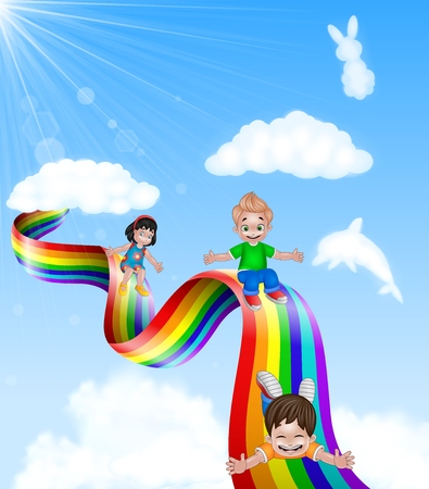 kids background: Vector illustration of Cartoon little kids playing slide on rainbow