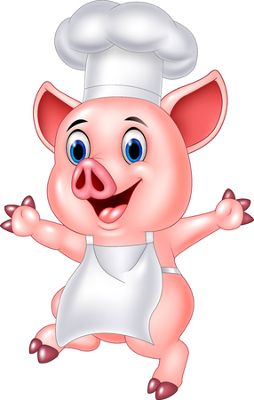 Vector illustration of Pig chef cartoon