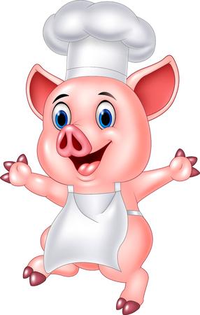 Vector illustration of Pig chef cartoon