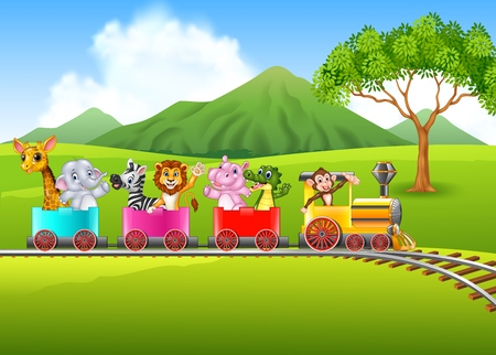 Vector illustration of Cute africa animal on train