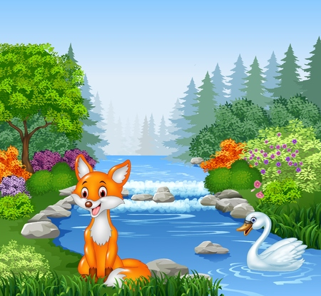 cartoon flower: Vector illustration of Cartoon fox and swan with Beautiful river in forest