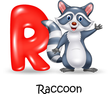 Vector illustration of Alphabet R with raccoon