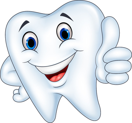 Vector illustration of Tooth cartoon with thumb up