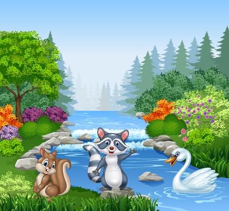 animales del bosque: Ilustración vectorial de animales divertidos dibujos animados en Río hermoso en el bosque