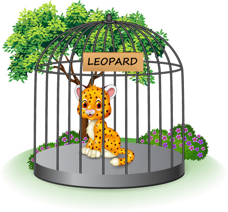 attentive: Vector illustration of Cute leopard in a cage