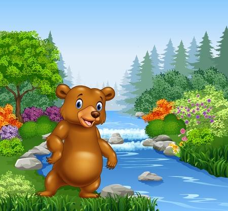 flor caricatura: Ilustración del vector de la historieta del oso en el río hermosa en bosque Vectores