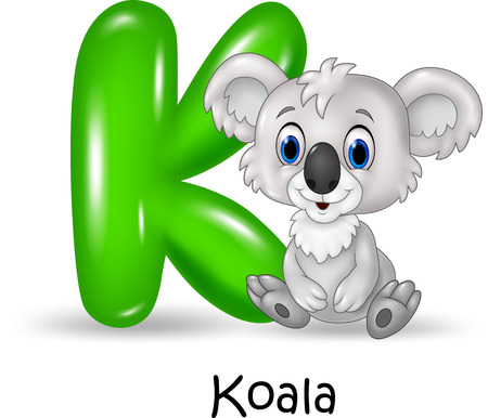 letters of the alphabet: Vector illustration of Alphabet K with koala Illustration