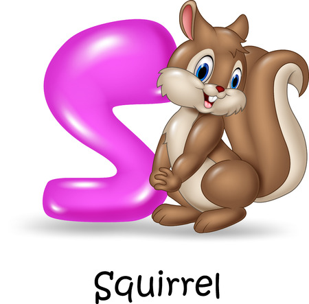 horse sleigh: Vector illustration of Alphabet S with squirrel Illustration
