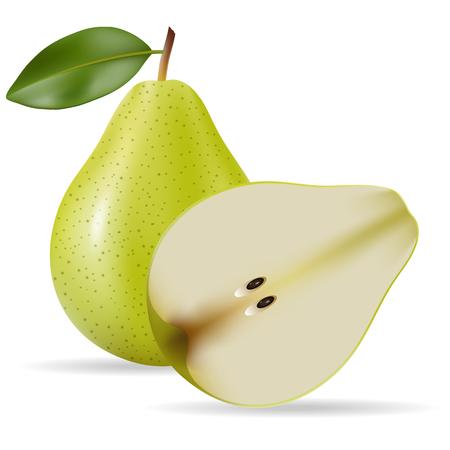 sliced fruit: Vector illustration of Fresh pear isolated on white background Illustration