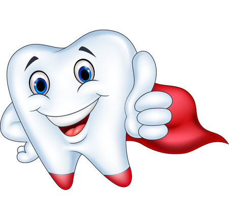 Vector illustration of Superhero tooth cartoon with thumb up Illustration