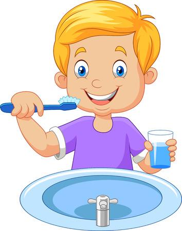 segurar: Ilustração do vetor do menino de escovar os dentes pequenos bonitos