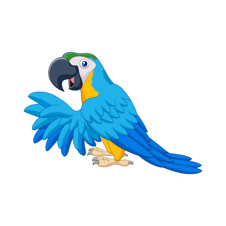 Vector illustration of Cartoon blue parrot