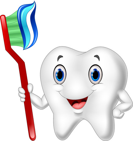 Vector illustration of Dental Tooth and Toothbrush cartoon