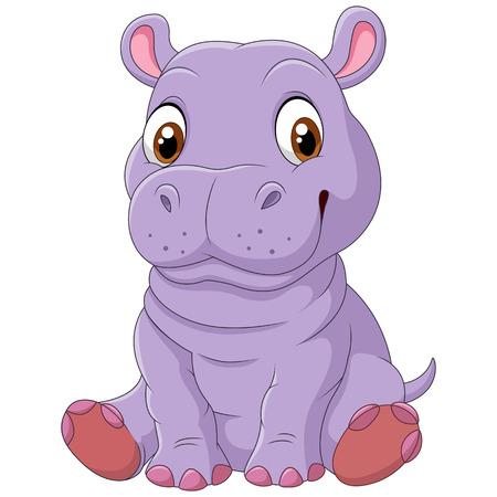 Vector illustration of Cute hippo sitting Illustration