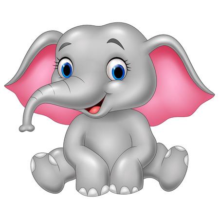 Vector illustration of Cartoon funny elephant