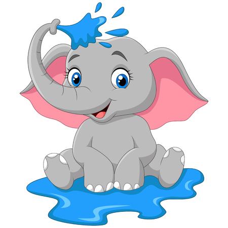 Ilustración del vector del agua de pulverización de elefante divertido de la historieta