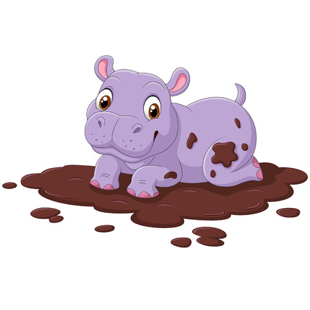 Vector illustration of Cute hippo in the mud