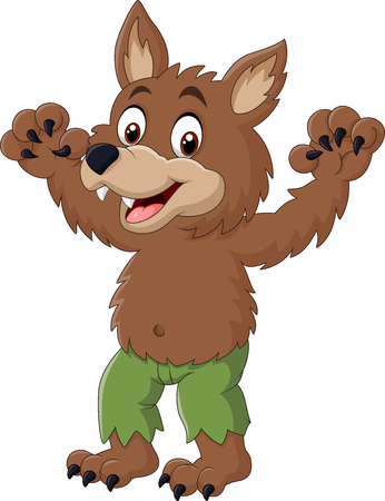 Vector illustration of Cartoon funny werewolf character