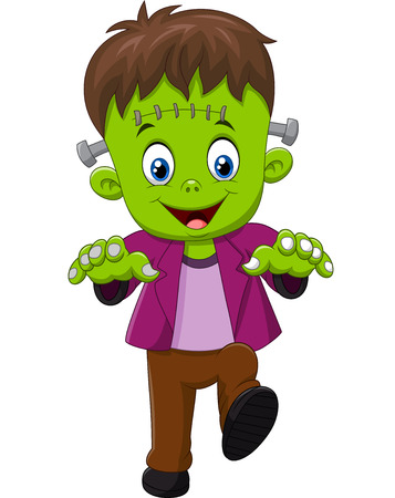Vector illustration of Halloween Frankenstein Mascot Illustration