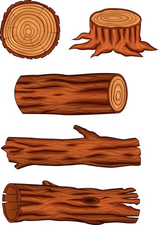Vector illustration of Wooden log collection set
