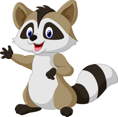 Vector illustration of Cartoon happy raccoon waving hand