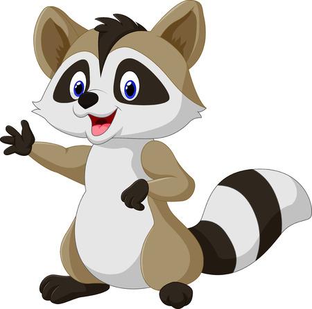 waving hand: Vector illustration of Cartoon happy raccoon waving hand