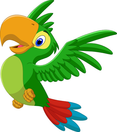 Vector illustration of Cartoon happy parrot flying