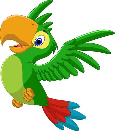 Vector illustration of Cartoon happy parrot flying