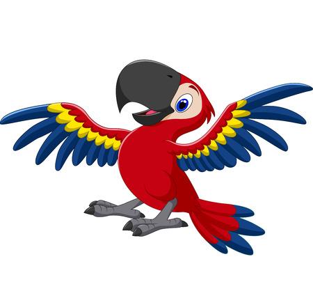 guacamaya caricatura: ilustración vectorial de dibujos animados feliz loro que volaba