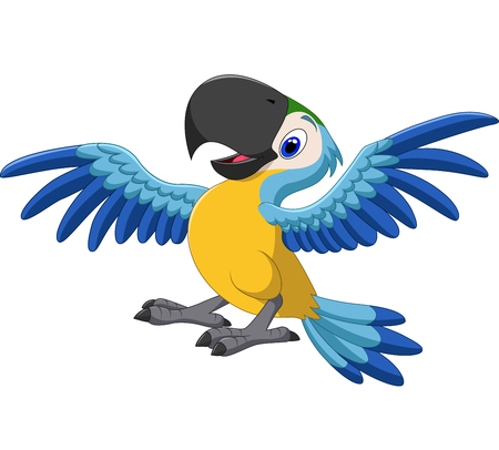 Vector illustration of Happy parrot flying