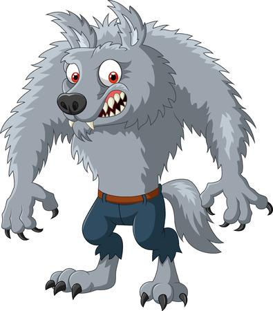 perros graciosos: Ilustración del vector del personaje de dibujos animados hombre lobo enojado