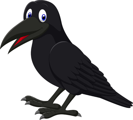 carrion: Vector illustration of Cartoon raven isolated on white background