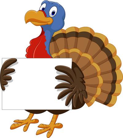 thanksgiving day symbol: Illustrazione vettoriale di cartone animato di tacchino bianco segno di partecipazione Vettoriali