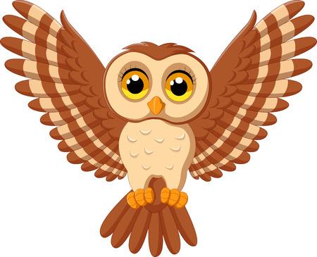 Vector illustration of Cute owl cartoon flying Illustration