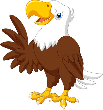 presenting: Vector illustration of Cartoon funny eagle presenting