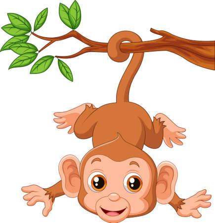 Vector illustration of Cute monkey hangin on a tree