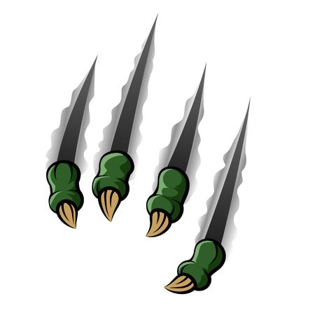 breaking through: Vector illustration of Green monster claw breaking through ripping tearing Illustration