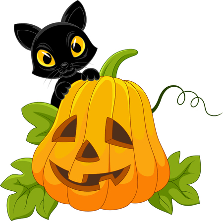 Vector illustration of Cute blank cat with Halloween pumpkin Illustration