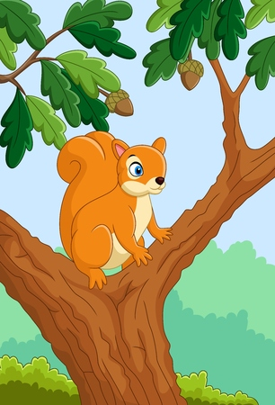 illustration of Cartoon funny squirrel on the tree