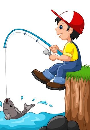 illustration of Little boy fishing Stock Illustratie