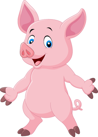 Vector illustration of Cute pig cartoon posing